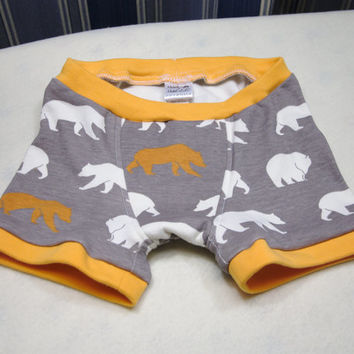 Bear boxer briefs, underwear, training pants size 1T 2T 4T 6 8 10, grey underwear