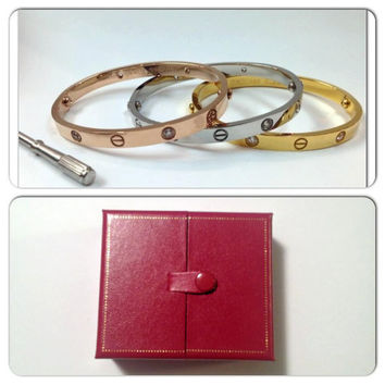 BEWARE of CHEAP IMITATIONS // Cartier Inspired Love Bracelet with Rhinestones // Comes with Screwdriver // Fast Shipping