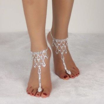 Rhinestone Teardrop Toe Ring Anklet - Silver White