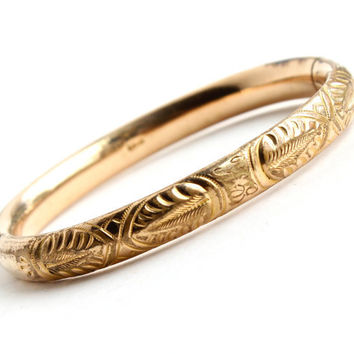 Antique Gold Filled Hinged Bracelet - Edwardian Art Nouveau Leaf Signed A.C. CO Jewelry / Vines & Initials LH GH