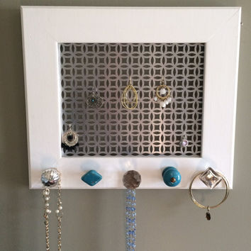 Earring frame, jewelry display and organizer, silver and turquoise accents