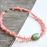 Pale Pink Coral Necklace, Coral and Turquoise, Coral Branch Necklace, Pink and Turquoise