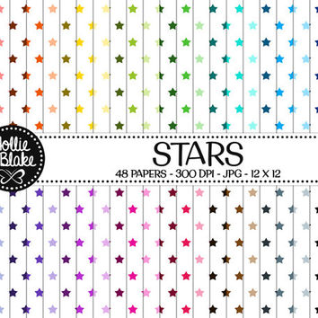 50% OFF! 48 Stars Digital Paper • Rainbow Digital Paper • Commercial Use • Instant Download • #STARS-103-1