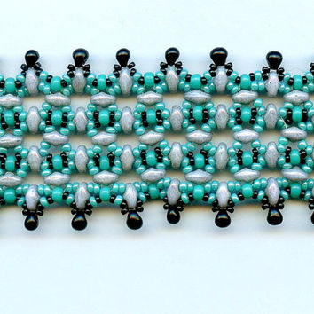 Super Duo Bracelet Turquoise Black Drop Beads Hand Woven Artisan Twin Beads