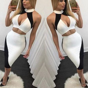 LMFUX5 High Collar Bodycon Hollow Out Two-Piece