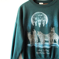 Vintage 1990s WOLVES Lake of Two Rivers ALGONQUIN Park CANADA Sweatshirt Sz L