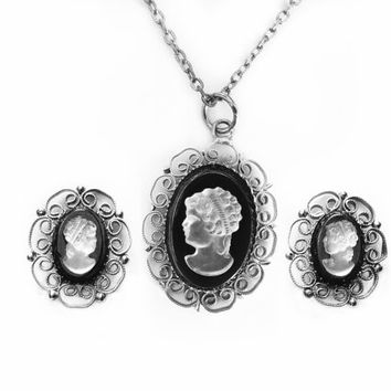 Vintage Cameo Necklace Pendant Earring Set Glass Cameo Victorian Revival Jewelry