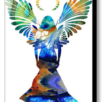 Angel Art Print from Painting Colorful Healing Spriritual Heavenly Heaven Love God CANVAS Ready To Hang Large Artwork Jesus Church Christian
