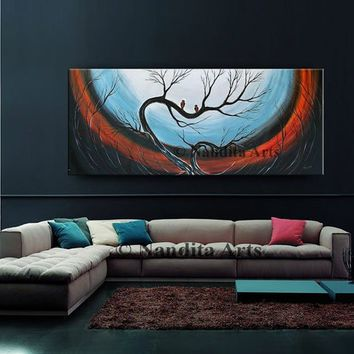 Acrylic Abstract Wall Art Canvas Large Landscape Tree Painting, Original Love Bird Sunsets Modern Art, Red, Gift Horror & Gothic- Nandita A.