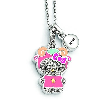 Sterling Silver Hello Kitty Crystal/Gold-tone/Enamel Aries Necklace QHK132