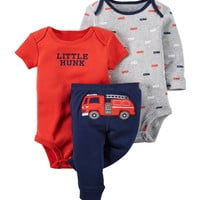 Little Hunk wellington fire truck set kids baby bebes boy gril clothing set Baby boy clothes newborn 3-piece Bodysuit Pant Set