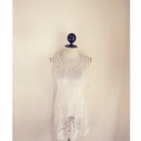 Great Gatsby Elven Marie Antoinette White French Romantic Lace Sheer Top Art Deco Ethereal Ballerina Parisian Boudoir Sheer Tunic Coverup