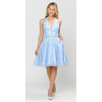 Halter V-Neck Lace Homecoming Short Dress Baby Blue