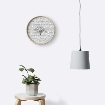 'Walden Thoreau Literary Text with Tree' Clock by 13Moons