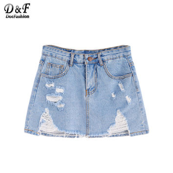Dotfashion Skirts Womens American Apparel Womens Skirts Female Vintage Skirt Blue Ripped Raw Hem Denim Skirts
