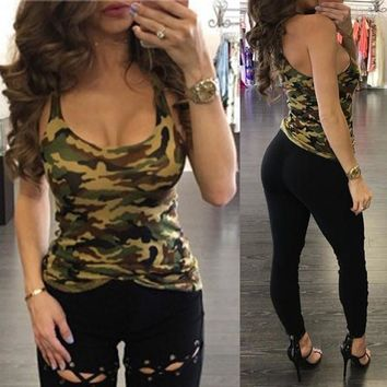2017  Fitness Women Tank Top Camouflege Low Cut Round Neck Vest Blouse