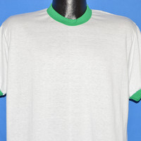 80s White Green Ringer Deadstock t-shirt Large