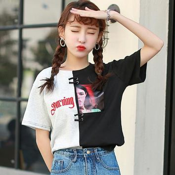 T-shirt  Women Summer 2018 Japanese Harajuku Letters Embroidery Beauty Printing Patchwork Short Sleeve Funny T Shirts 2185