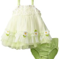 Nannette Baby, Baby-girls Newborn 2 Piece Daisy Knit Dress And Panty, Green/Pastel, 0-3 Months