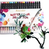 20 Color Premium Painting Soft Brush Pen Set Watercolor Art Copic Markers Pen Effect Best Coloring Books Manga Comic Calligraphy