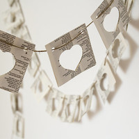 Paper garland bunting, wedding garland, heart garland, party home decor, recycled book garland, eco friendly decor, paper pennant banner