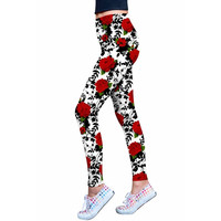 Queen Power Lucy White Floral Print Eco Leggings - Women