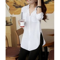 Wholesale Solid Color Slit Side Design Long Sleeve Turn Down Collar Single Breasted Blouse For Women (WHITE,ONE SIZE), Blouses - Rosewholesale.com