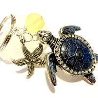Sea Turtle & Starfish Keychain, Sea Turtle Car Accessories, Denim Blue and Buttercup Yellow Key Chain