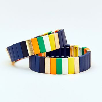 Seas The Day Painted Stretch Block Bracelet (set of 2)