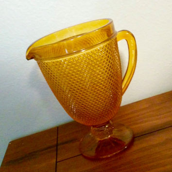 Vintage orange diamond point glass pitcher, kitsch kitchen decor, glass serving, textured glass pitcher, footed pitcher.