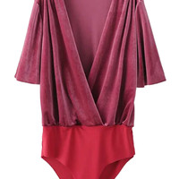 Burgundy Wrap V-neck Velvet Bodysuit