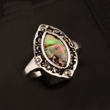 Marquis Abalone Shell and Black Crystal Vintage Silver Ring