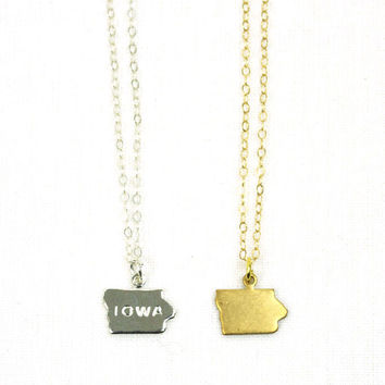 "Iowa ""Home"" Mini Charm Necklace"
