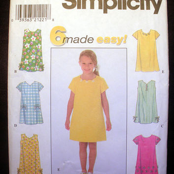 Girls Pullover Dress in 6 styles Sizes 5, 6, 7, 8 Simplicity 7988 Sewing Pattern Uncut