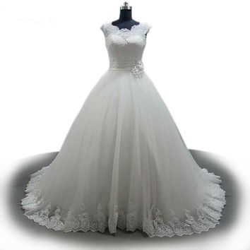 Crystal appliques Wedding Dress Cap Sleeve Scoop Neck Wedding Gowns Custom Made Bridal Ball Gown