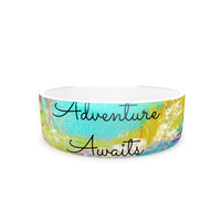 "Ebi Emporium ""Adventure Awaits"" Painting Typography Pet Bowl"