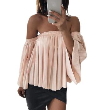 Women Tops Off Shoulder Shirt Chiffon Pleated Top Blouse T-shirt