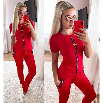 GUCCI Fashion Women Casual Stripe Bee Short Sleeve Top Pants Sport Set Two Piece Red