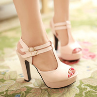 Cross Strap Platform Sandals Women Pumps High Heels Shoes Woman