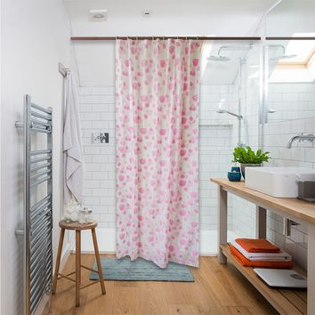 Shower Curtain Liner Mildew Resistant Waterproof Bathroom Curtains 84 X 54 inches with 8 Hooks Free Pink Rose Print
