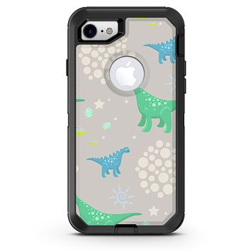 Curious Green and Blue Dinosaurs - iPhone 7 or 8 OtterBox Case & Skin Kits