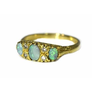 Estate 18k Gold Opal Diamond Ring Three Stone Vintage Victorian Style
