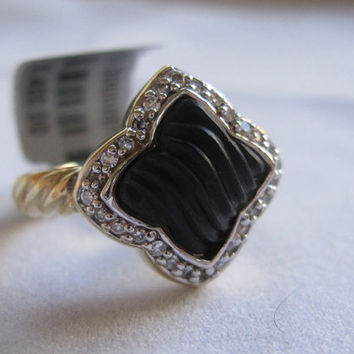 Rare Estate David Yurman 18k Onyx and Diamond Quatrefoil Clover Vintage Yurman Cable Ring