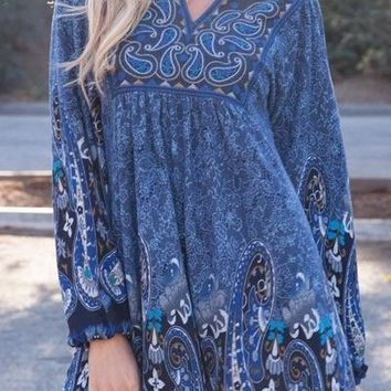 Casual Cowgirl Paisley Print Dress Blue Short Sleeves