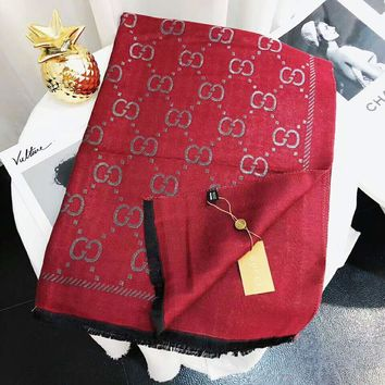 GUCCI Autumn And Winter New Fashion More Letter Print Warm Scarf Women Red
