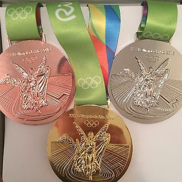 2016 RIO OLYMPICS - SET OF GOLD, SILVER & BRONZE MEDALS WITH SILK RIBBONS