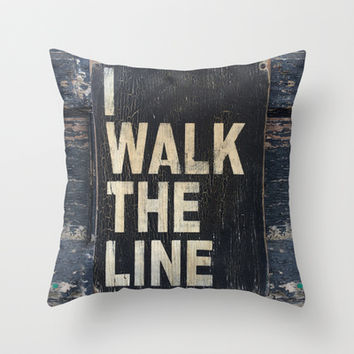 I Walk The Line Throw Pillow by Gigglebox