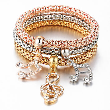 3Pcs/set Crystal Music Bracelet Rhinestone Charm Skull Gold Color Heart  Party Jewellery Bracelets&Bangles For Women 2016 Love