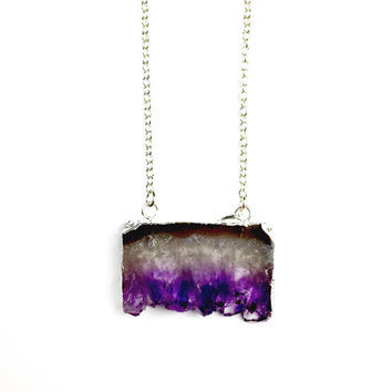 Amethyst Slice Necklace in Silver Plated - Boho Necklace, Pagan, Vegan, Natural, Quartz, Layering, Gemstone, Dainty, Raw, Crystal, Sparkly