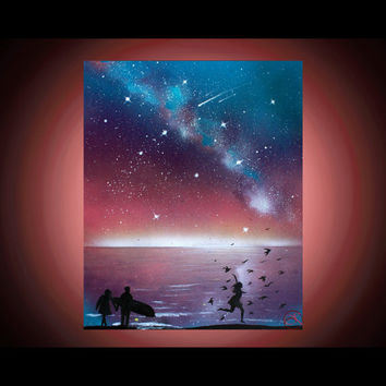 Silhouette Art Beach - Wall Art - Girl - Birds - Space Art - Spray Paint Art - Paintings on Canvas - Beach Art